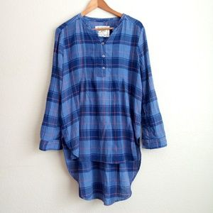 Anthro Holding Horses Plaid Flannel Tunic Top